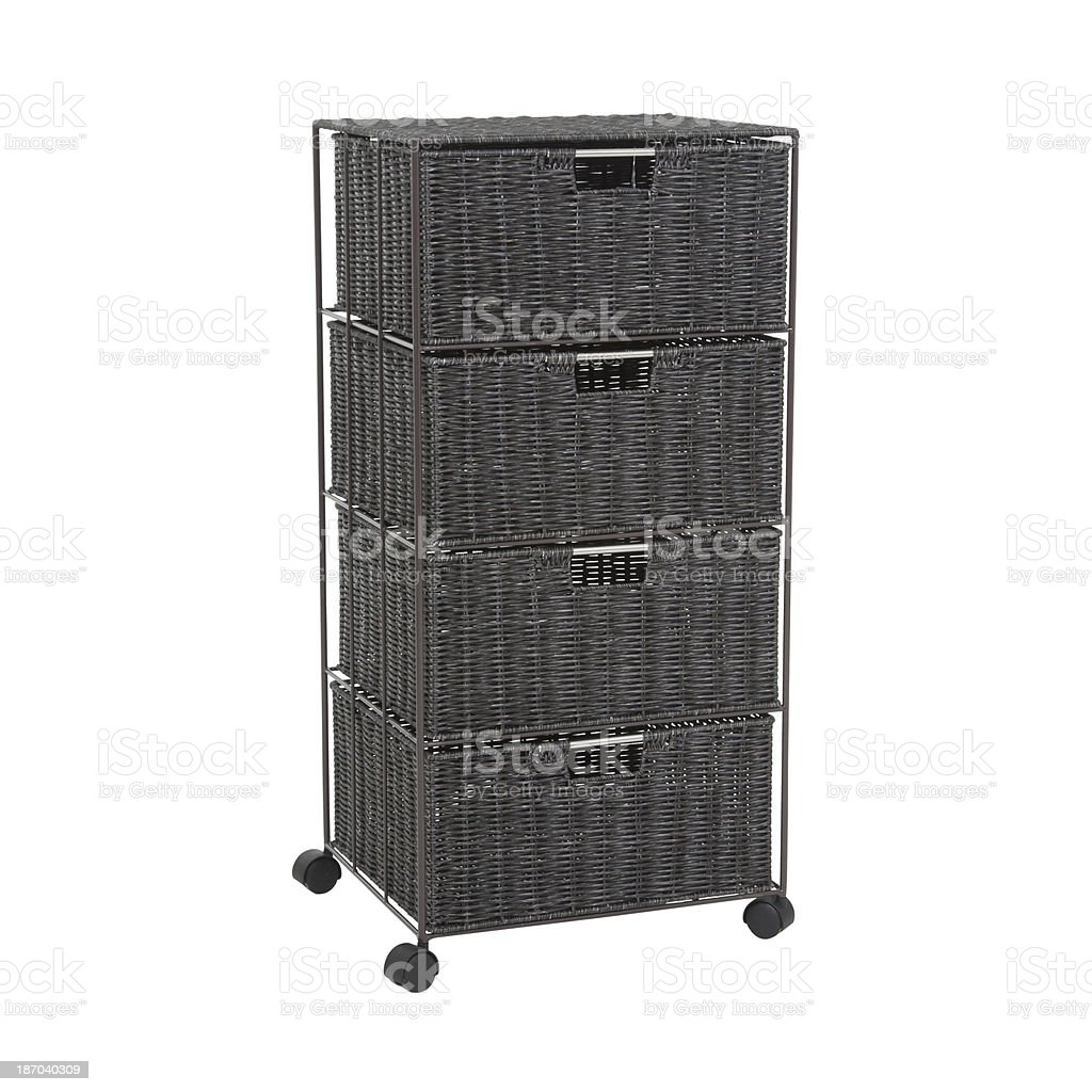 Basket Chest Of Drawers Isolated royalty-free stock photo