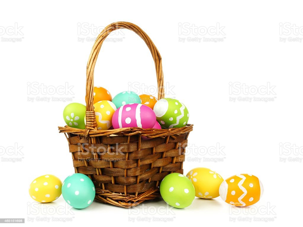 Basket filled with easter eggs stock photo