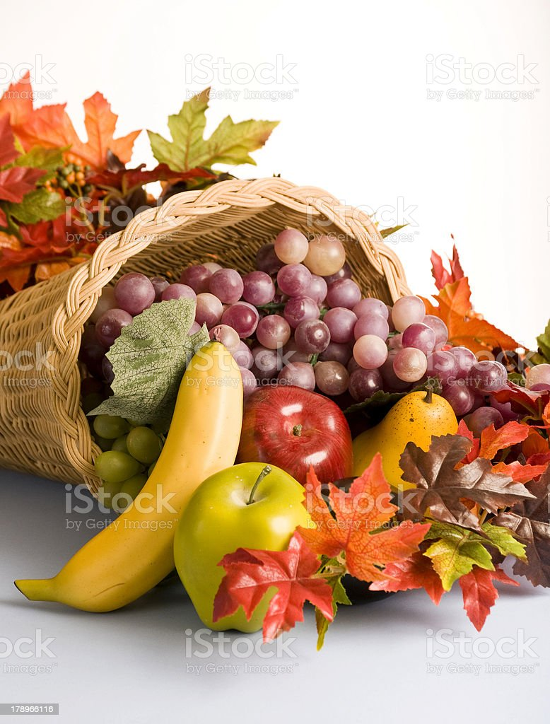 Basket filled with fruit decorations royalty-free stock photo