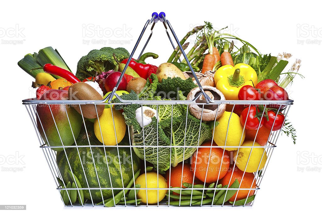 A basket filled with fruits and vegetables stock photo