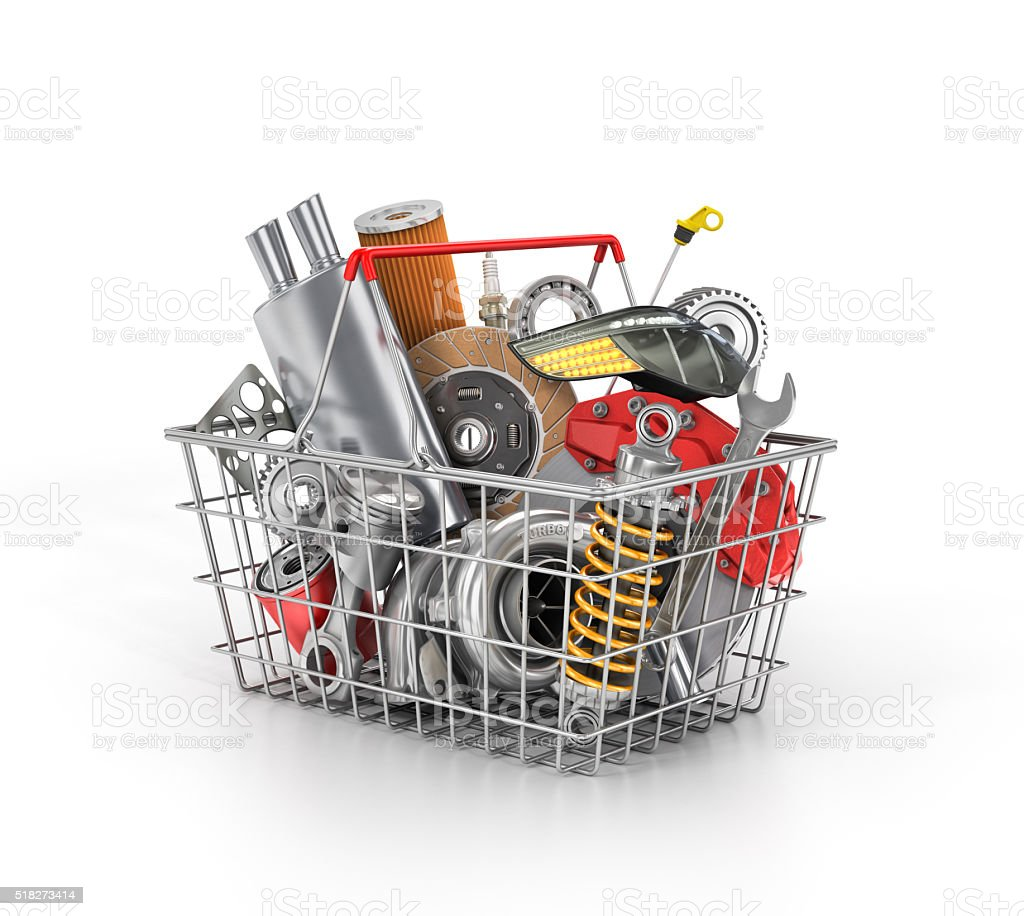 Basket from a shop full of auto parts. Auto parts store. Automotive basket shop. stock photo