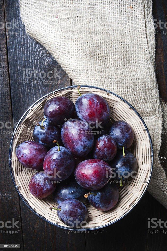 Basket full of autumn fruits stock photo