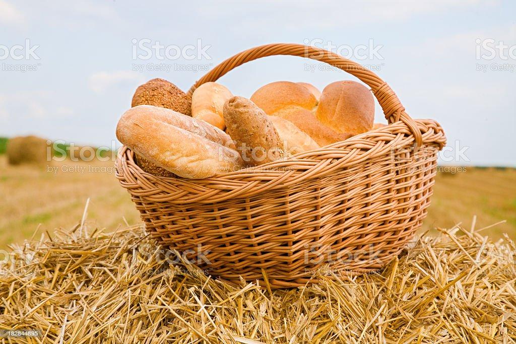 Basket full of bread royalty-free stock photo