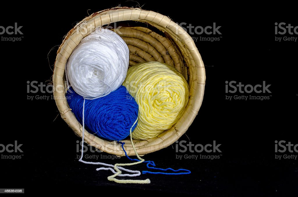 Basket full of colorful yarn stock photo