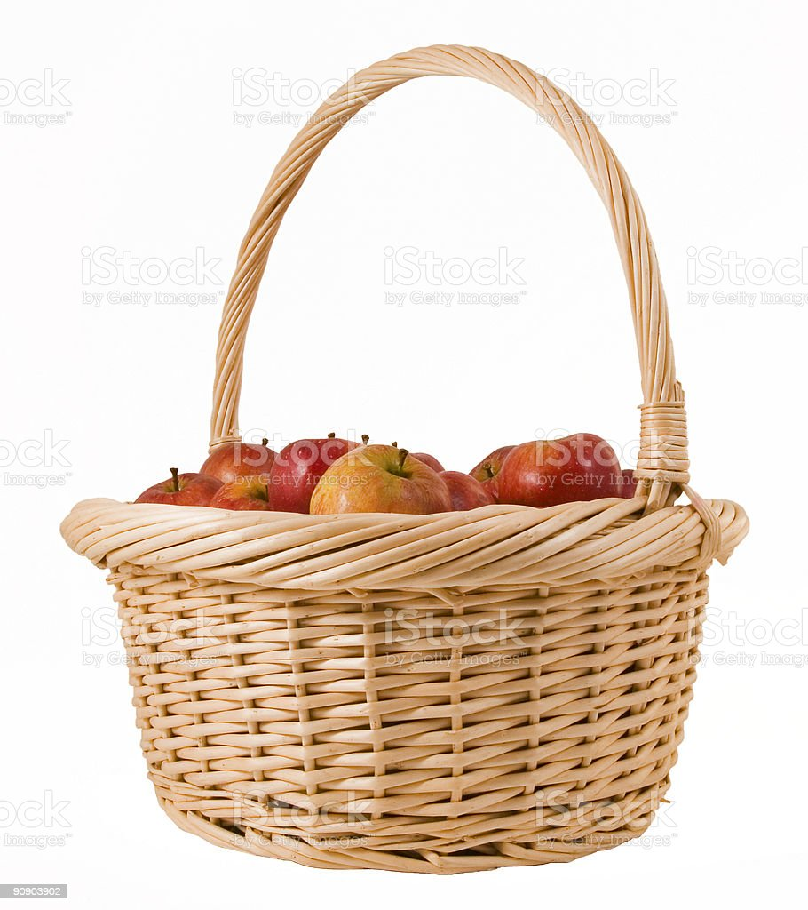 Basket full of delicious apples stock photo