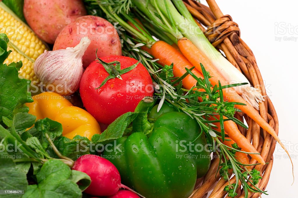 A basket full of fresh vegetables stock photo