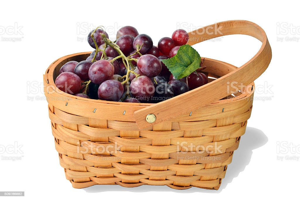 Basket Full of Fruit Grapes stock photo