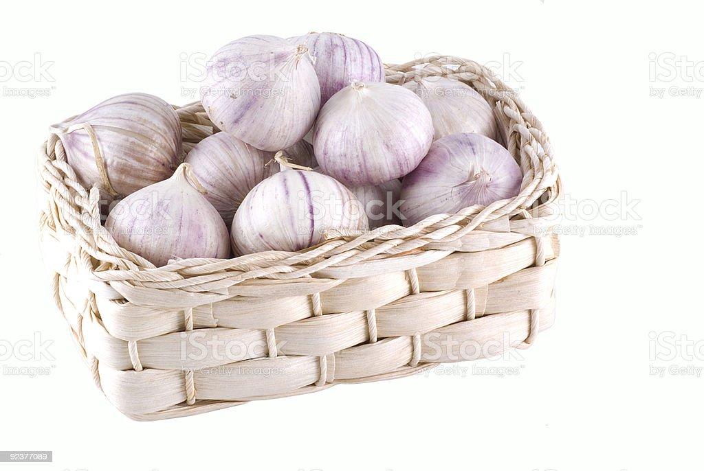 Basket full of garlic. royalty-free stock photo
