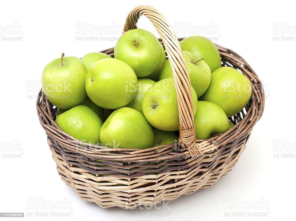 basket full of green apples stock photo