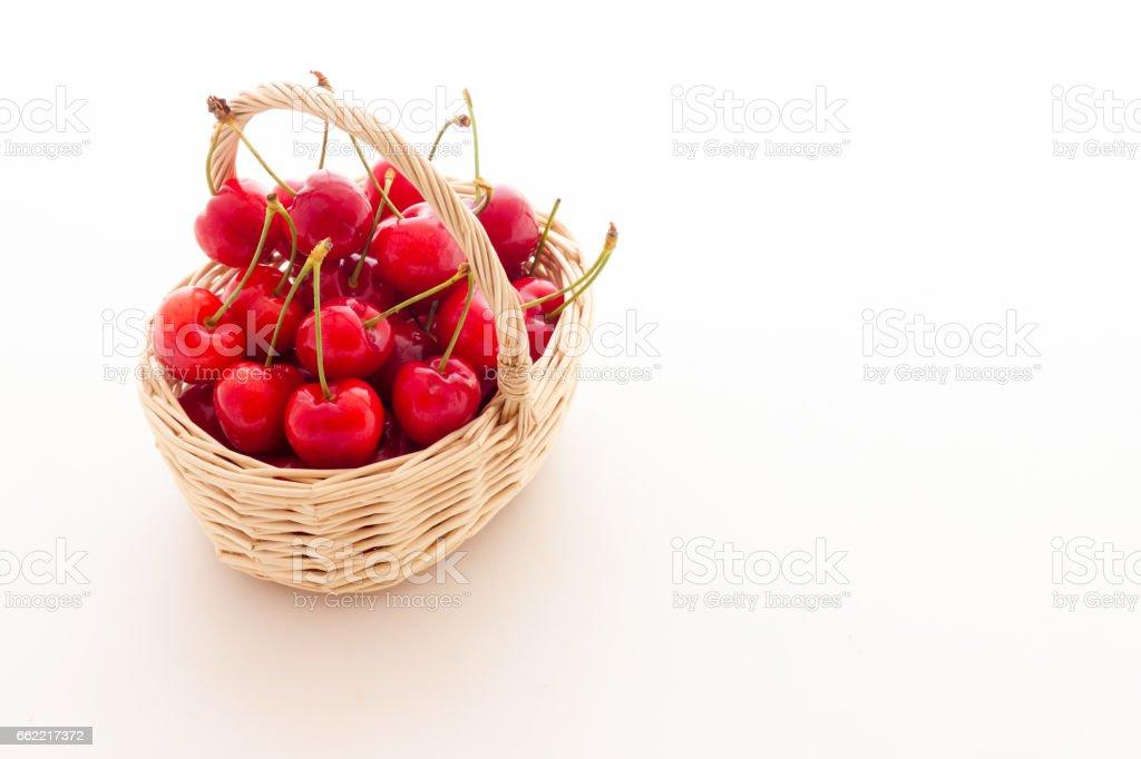 Basket full of red cherries tasty royalty-free stock photo