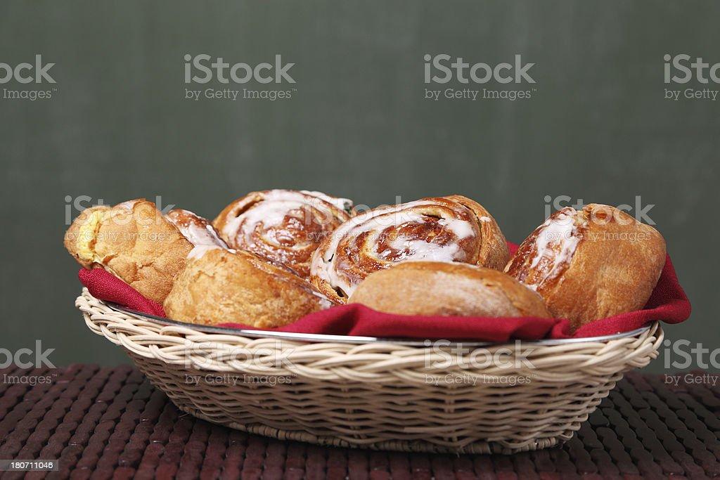 Basket full of sweet buns royalty-free stock photo