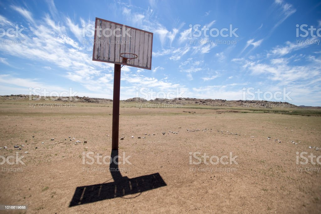 basket in the desert stock photo
