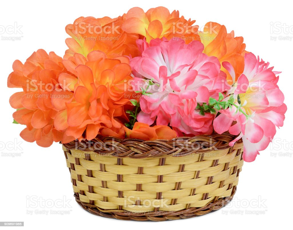 basket large artificial bouquet stock photo