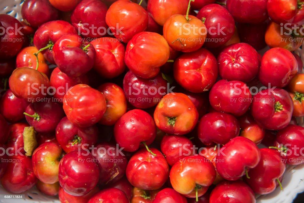 Basket of acerola fruits stock photo