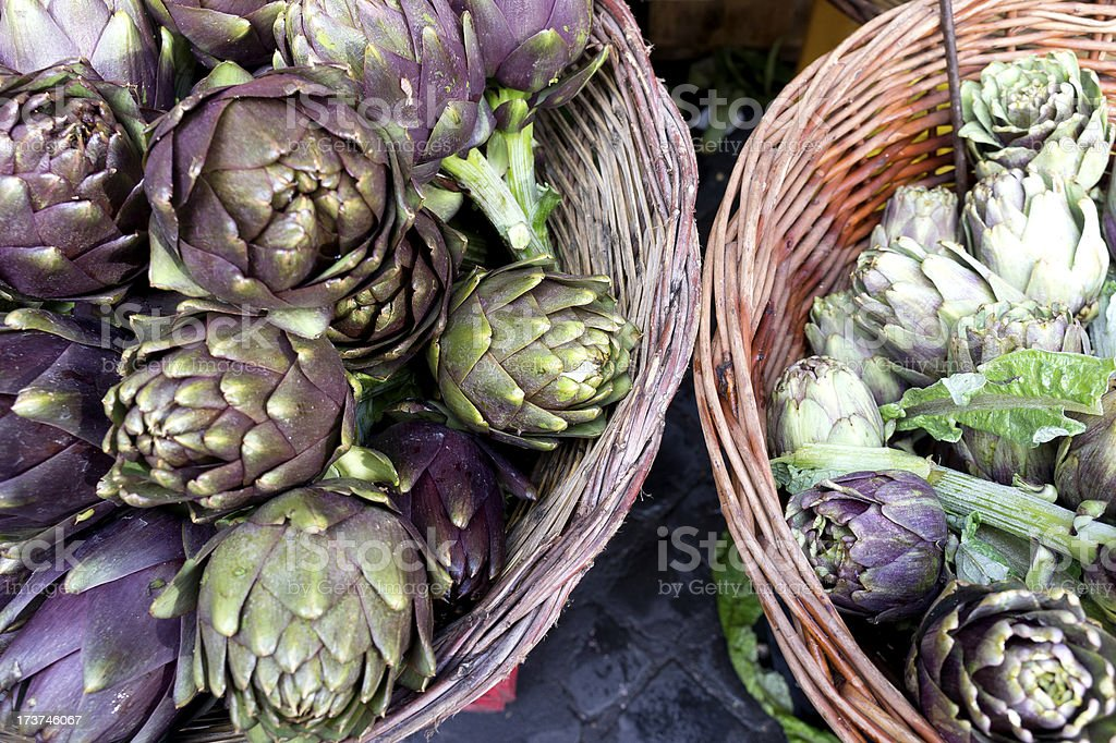 Basket of artichokes royalty-free stock photo
