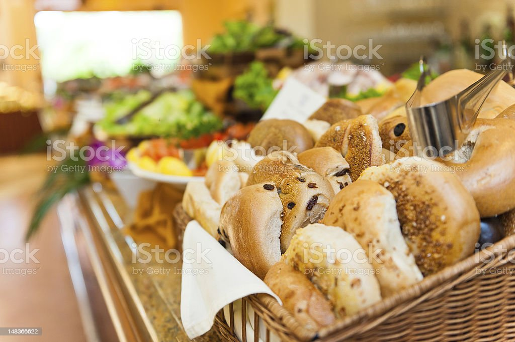 Basket of bagels in a lunch buffet stock photo