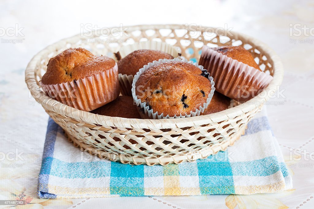Basket of berry muffins royalty-free stock photo