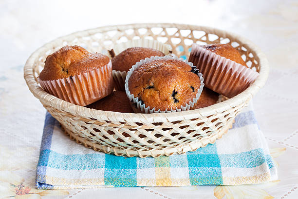 Basket of berry muffins stock photo