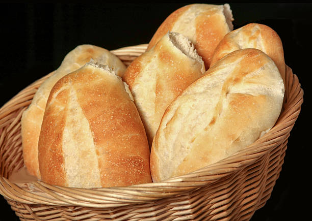 Basket of Bolillos, Bread stock photo
