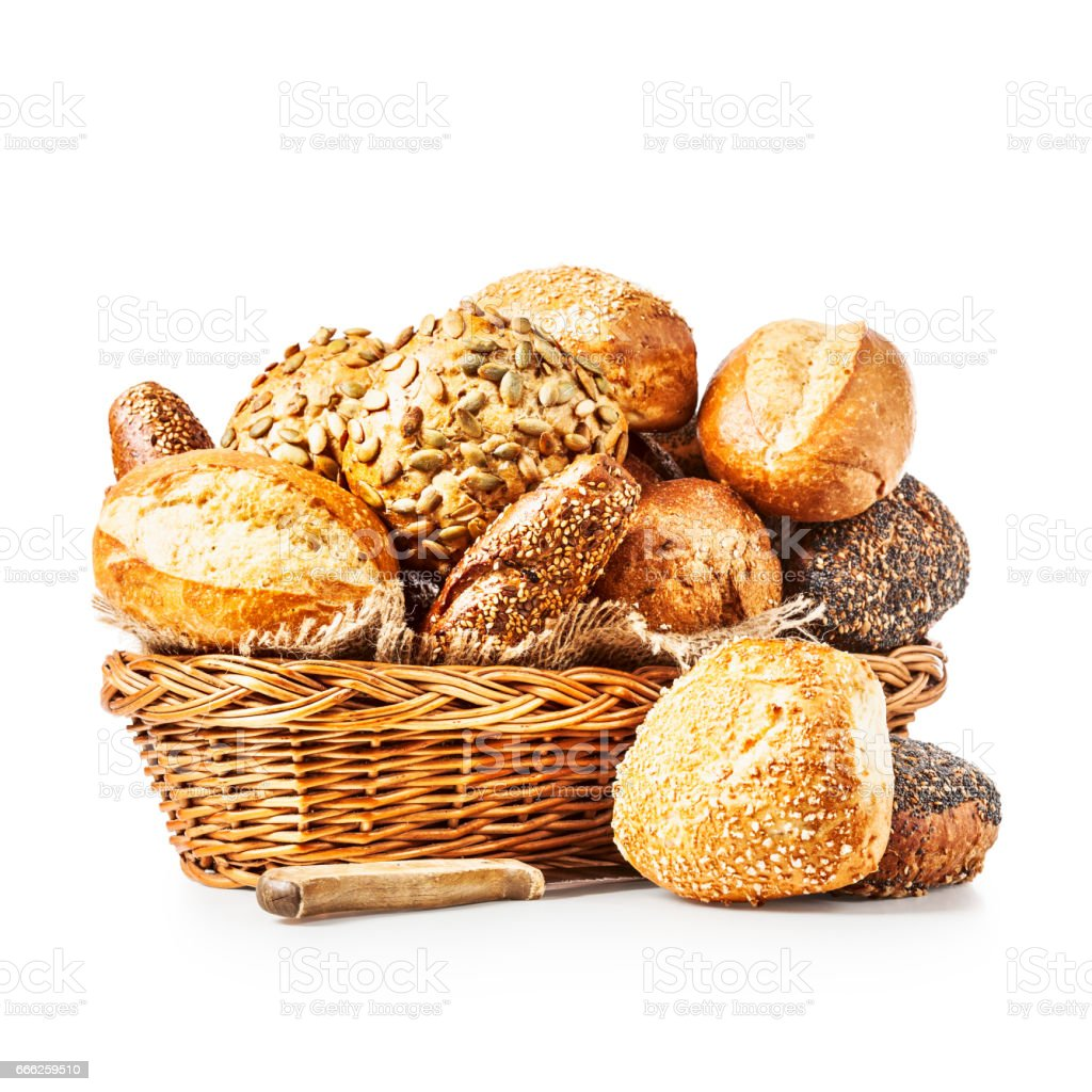 Basket of bread buns stock photo