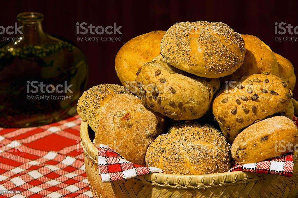 Basket of bread rolls stock photo