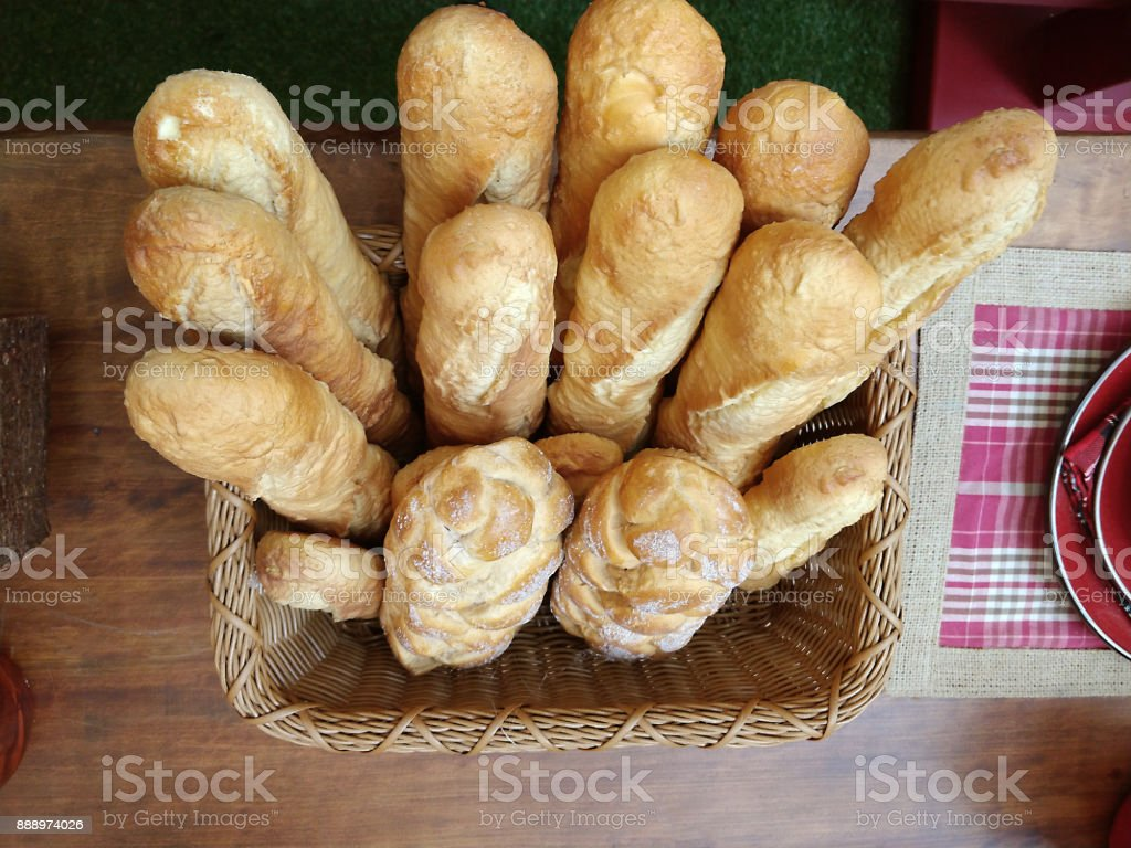 basket of breads stock photo