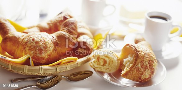Breakfast with croissant and coffee on the table