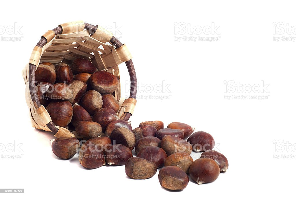 basket of chestnuts, autumn fruits, isolated on white royalty-free stock photo