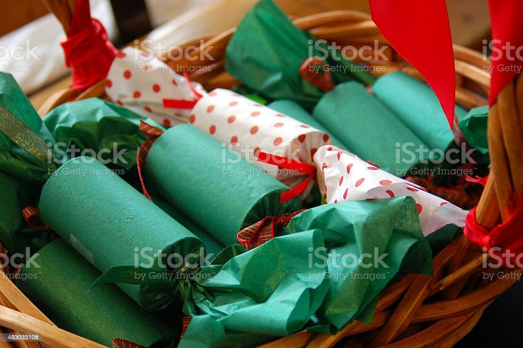 Basket of Christmas Crackers stock photo