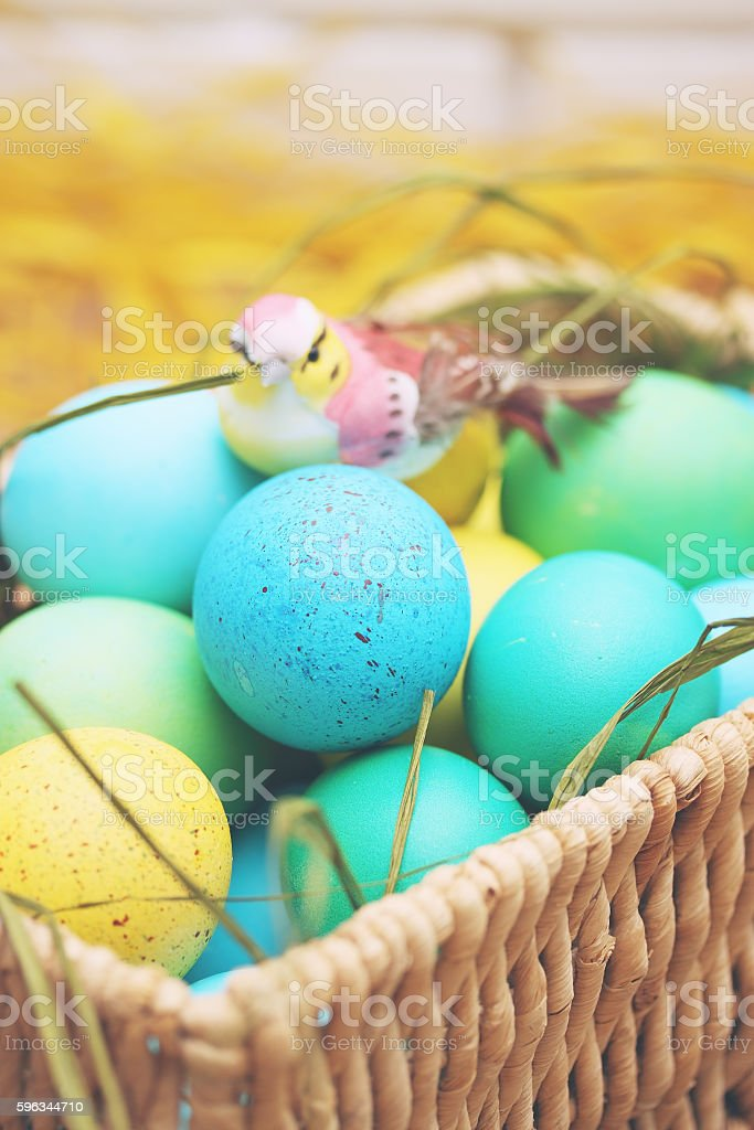 basket of colored eggs royalty-free stock photo