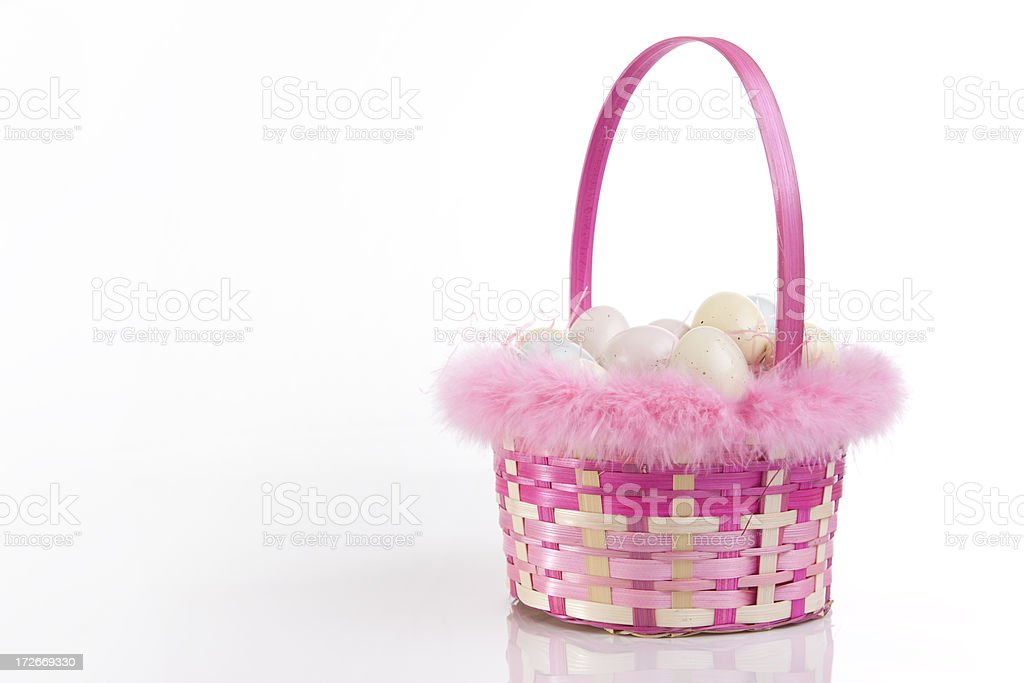 Basket of Easter Eggs on White, Copy space stock photo