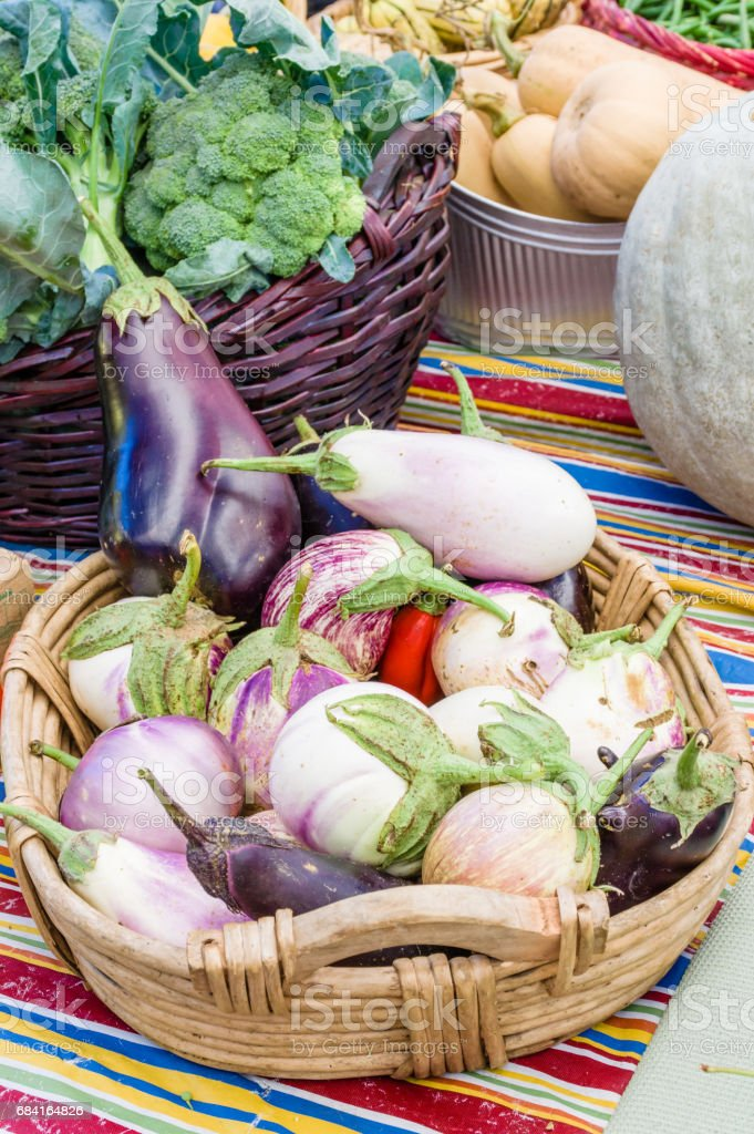 Basket of eggplant at the market royalty-free stock photo