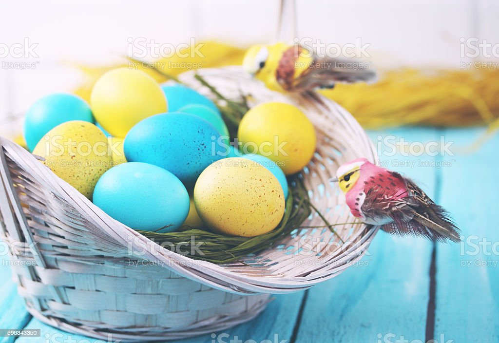 basket of eggs close-up, tinted royalty-free stock photo