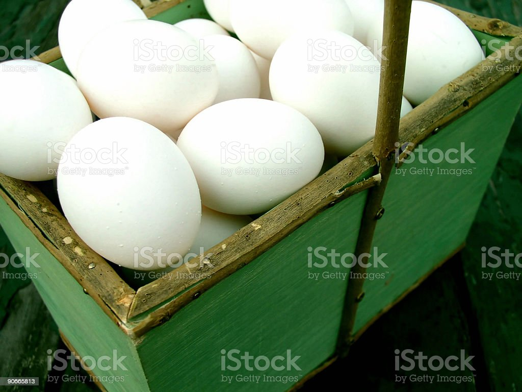 Basket of Eggs stock photo