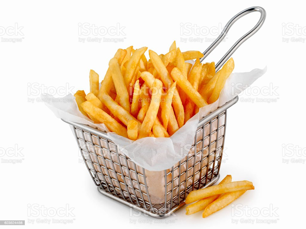 Basket of Famous Fast Food French Fries - fotografia de stock