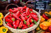 Farmer's market red fresno chili peppers
