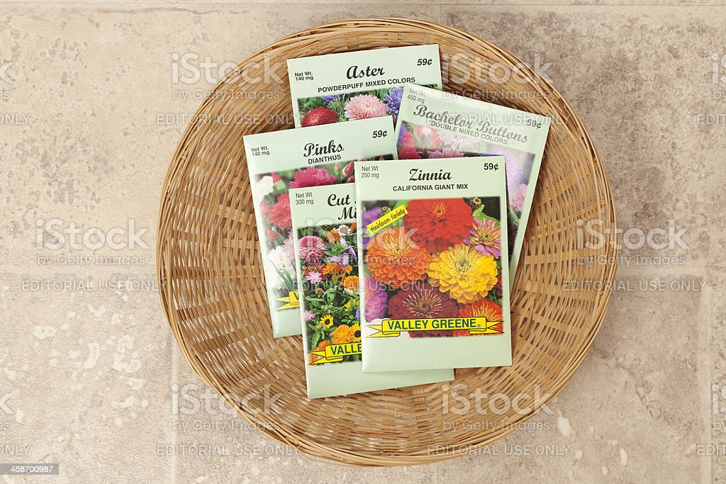 Basket of Flower Seed Packets royalty-free stock photo
