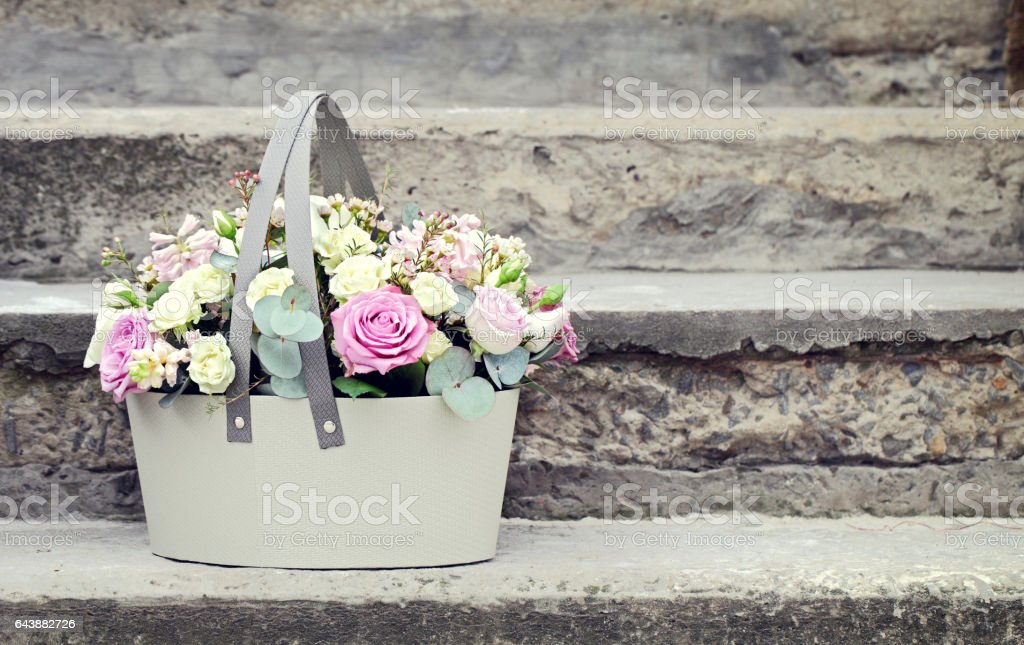 Basket of flowers. stock photo