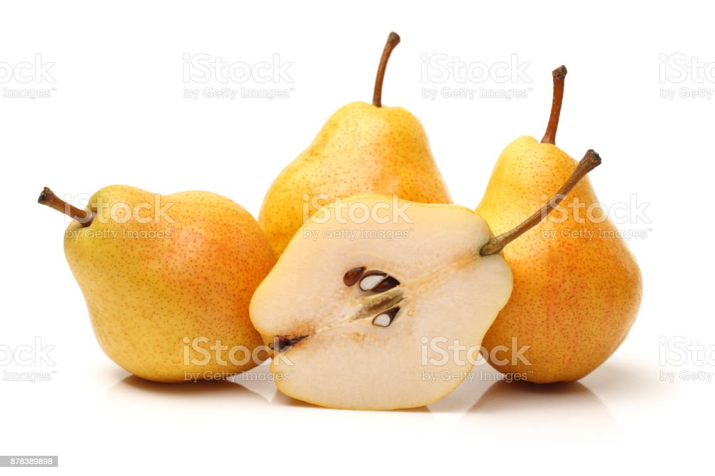 Basket of Forelle Pears on white background stock photo