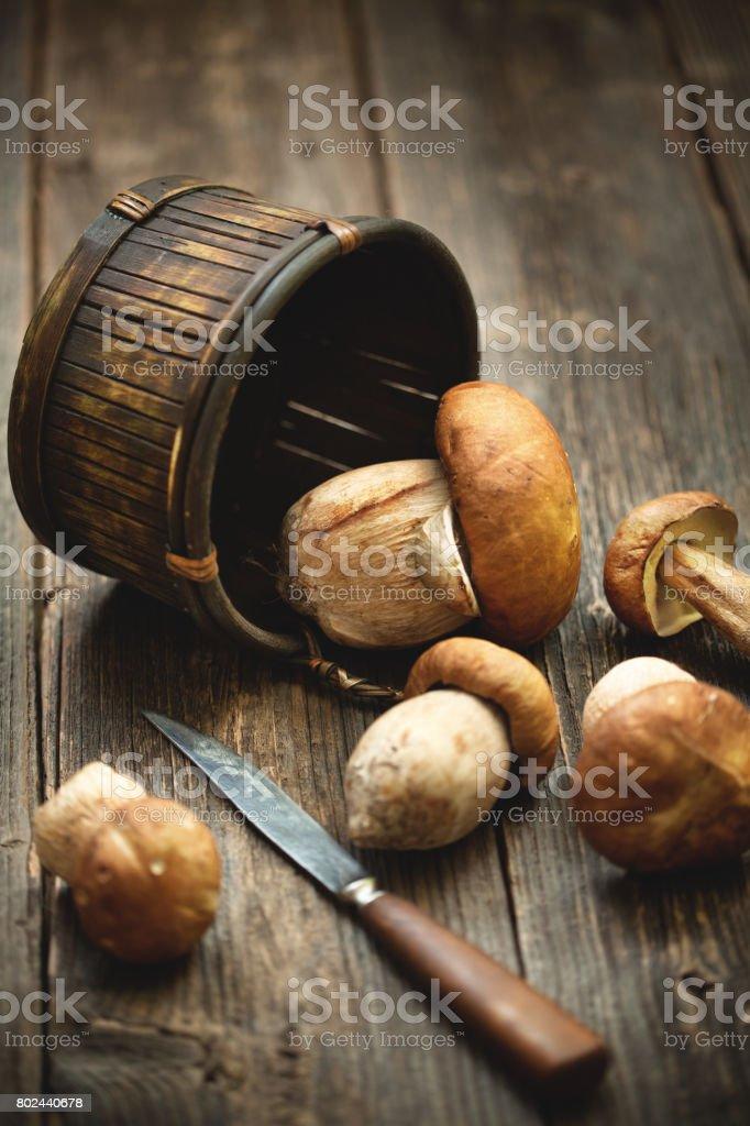 Una cesta de ceps frescos con cuchillo de cocina en una mesa de madera. - foto de stock