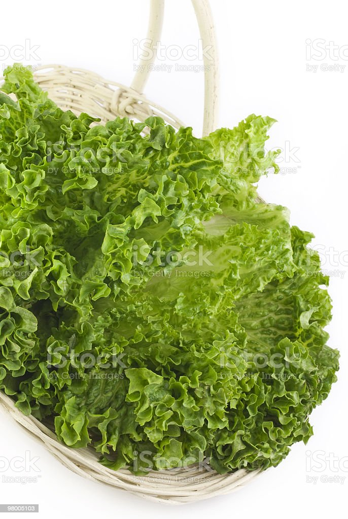 Basket of Fresh Leaf Lettuce royalty-free stock photo