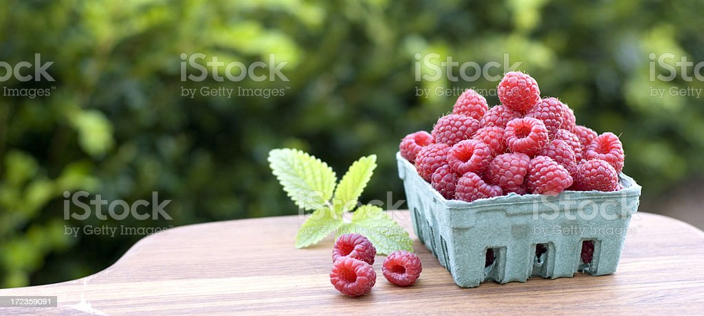 Basket of Fresh Raspberries royalty-free stock photo