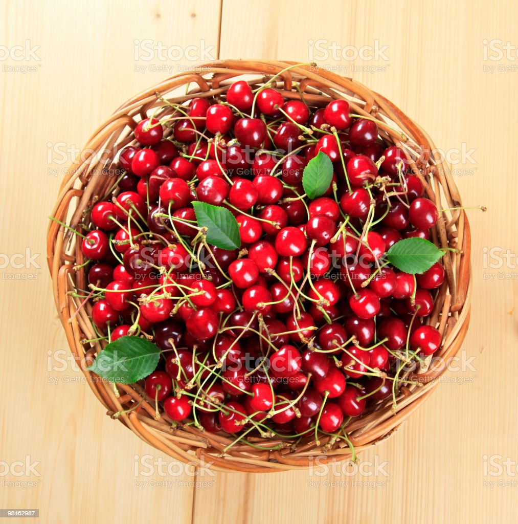 Basket of fresh red cherries royalty-free stock photo