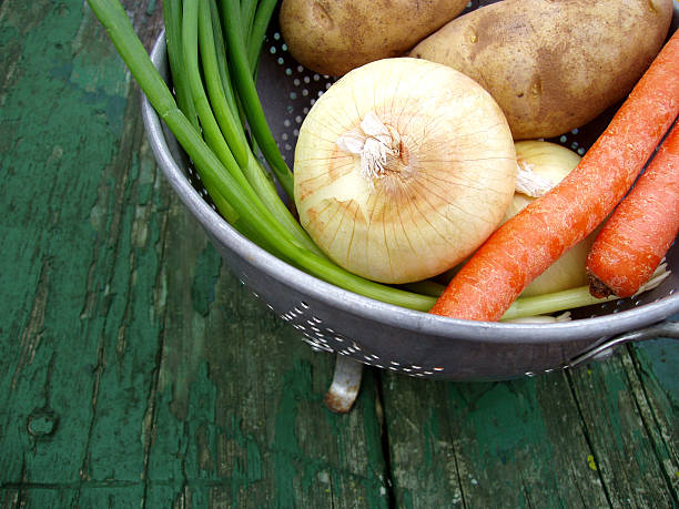 basket of fresh vegetables - fda stock photos and pictures