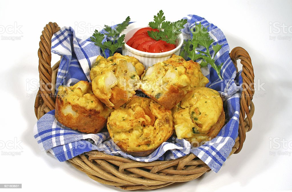 Basket Of Freshly Baked Muffins royalty-free stock photo