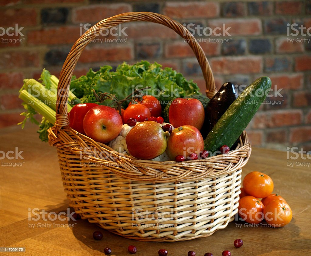 Basket of Fruits and Vegetables royalty-free stock photo