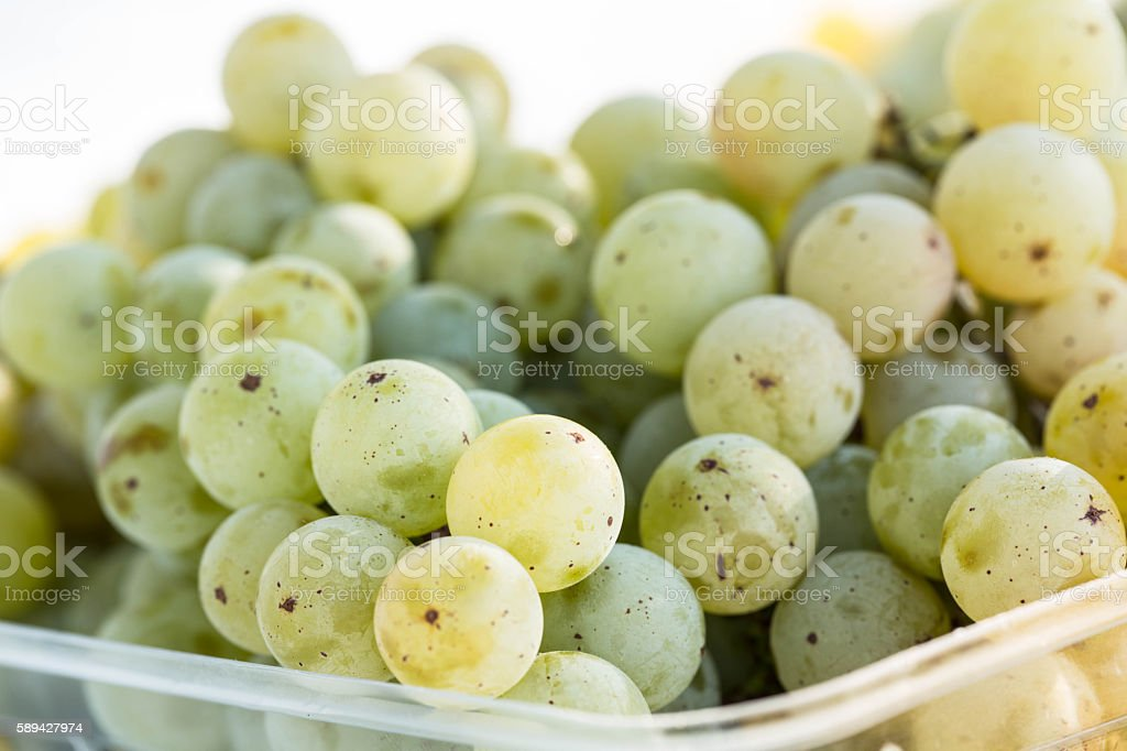 Basket Of Green Grapes Fresh Picked Off Vine stock photo