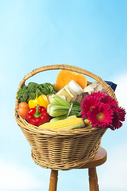 Basket of groceries stock photo