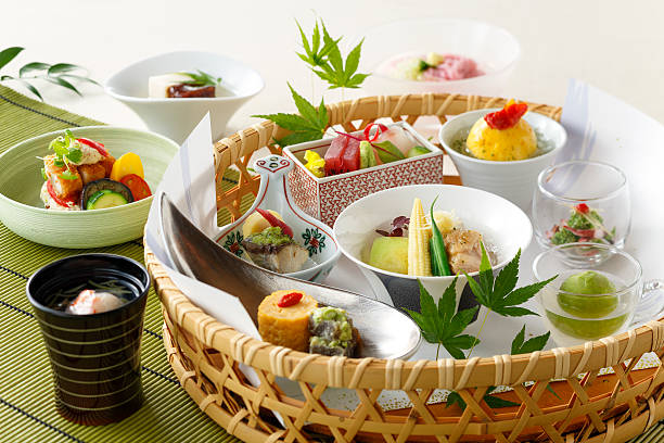 basket of japanese food with sushi and vegetables soup - washoku stockfoto's en -beelden