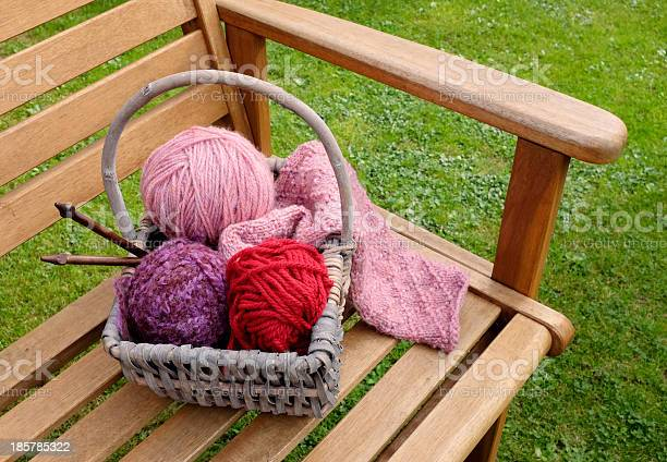 Basket of knitting and yarns on a bench picture id185785322?b=1&k=6&m=185785322&s=612x612&h=doywrbo5qz1ii vfibp2m btmkjeqjegua0yvpmjydg=